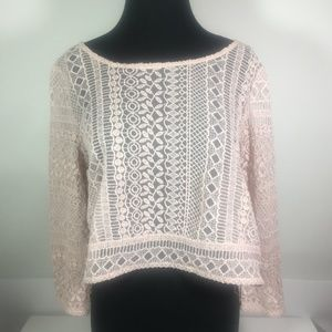 American Eagle Outfitters Blush Lace Crop Blouse M